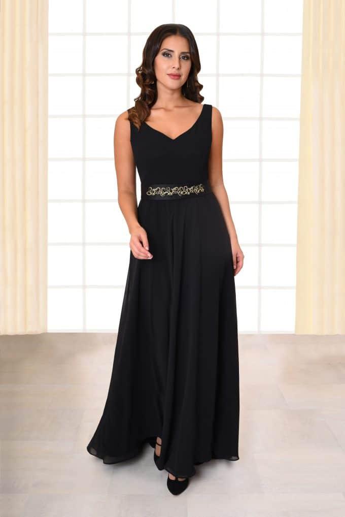 Langes Abendkleid Fabia mit Metallgürtel schwarz