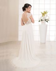 Langes Brautkleid in A-Linie mit Rückenausschnitt und Flügelärmeln aus Spitze Rückenansicht