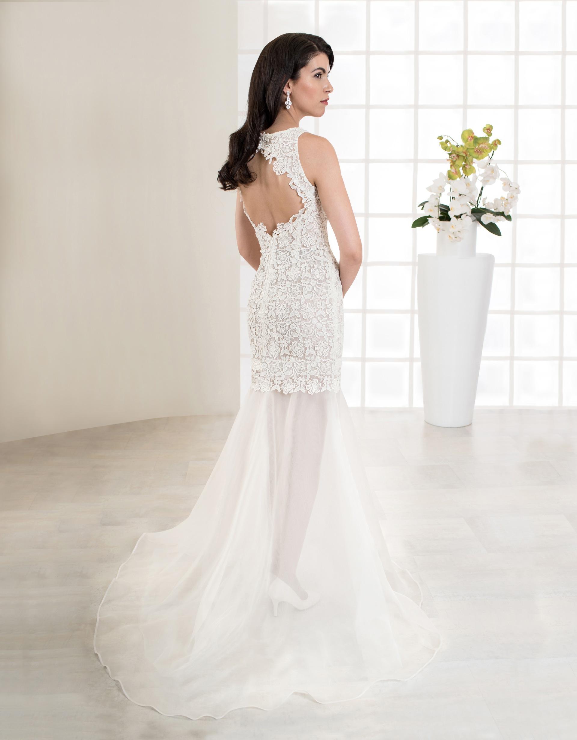 Kurzes Brautkleid aus Spitze mit schmalen Trägern und Rückenausschnitt Rückenansicht