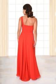 Abendkleid lang Amelia rot mit Gürtel von hinten