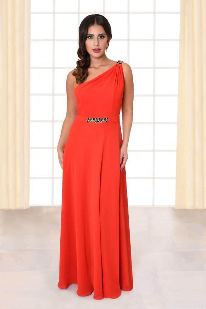 Abendkleid lang Amelia rot mit Gürtel und von vorne
