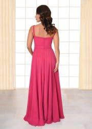 Abendkleid lang Carina pink Gürtel mit Blütenapplikation und schmalen Trägern von hinten