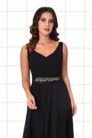 Abendkleid lang Fabia schwarz Gürtel mit Applikationen Nahaufnahme