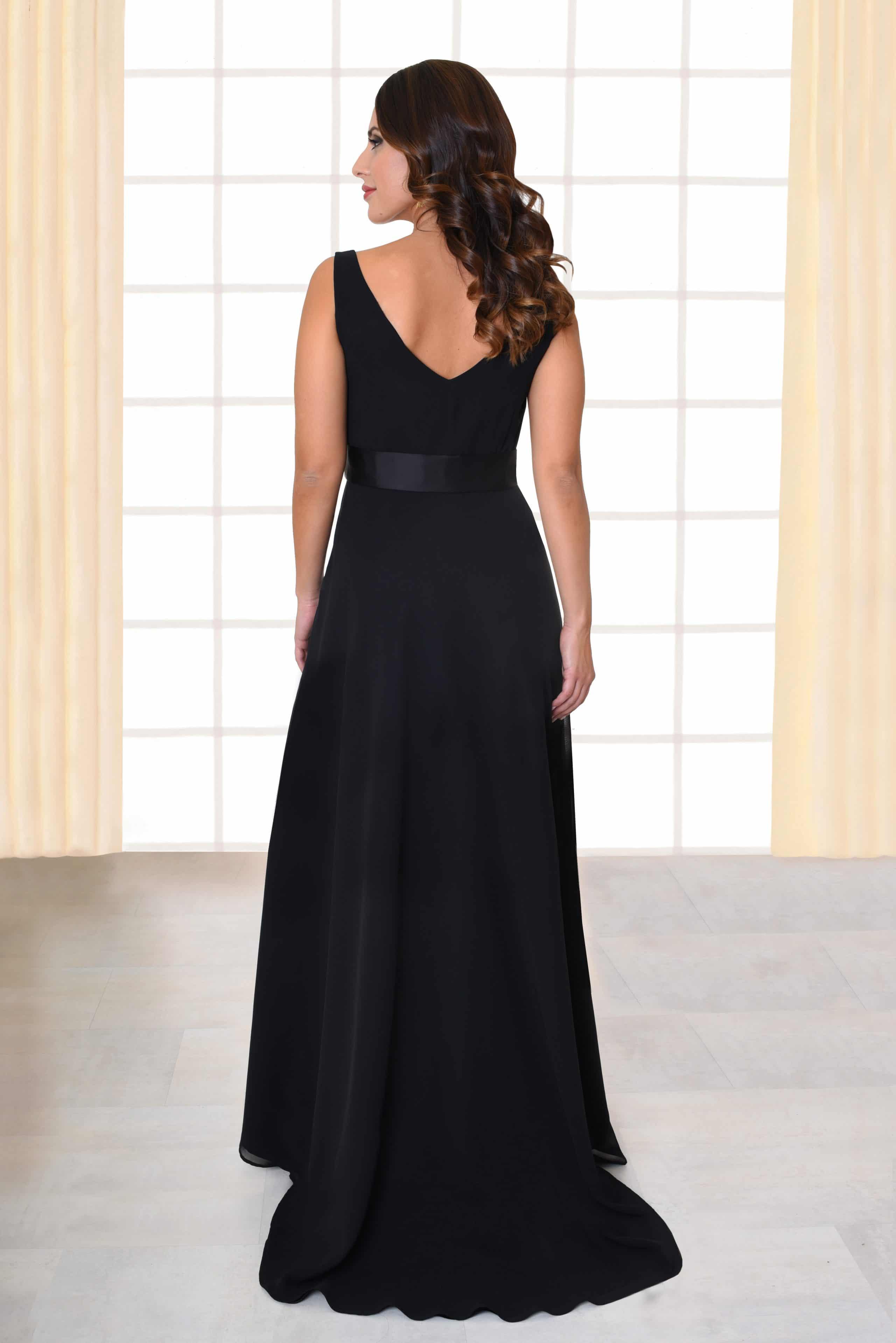 Abendkleid lang Fabia schwarz Gürtel mit Applikationen von hinten