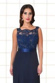 Abendkleid lang Flores Spitzenoberteil mit Trägern dunkelblau Nahaufnahme