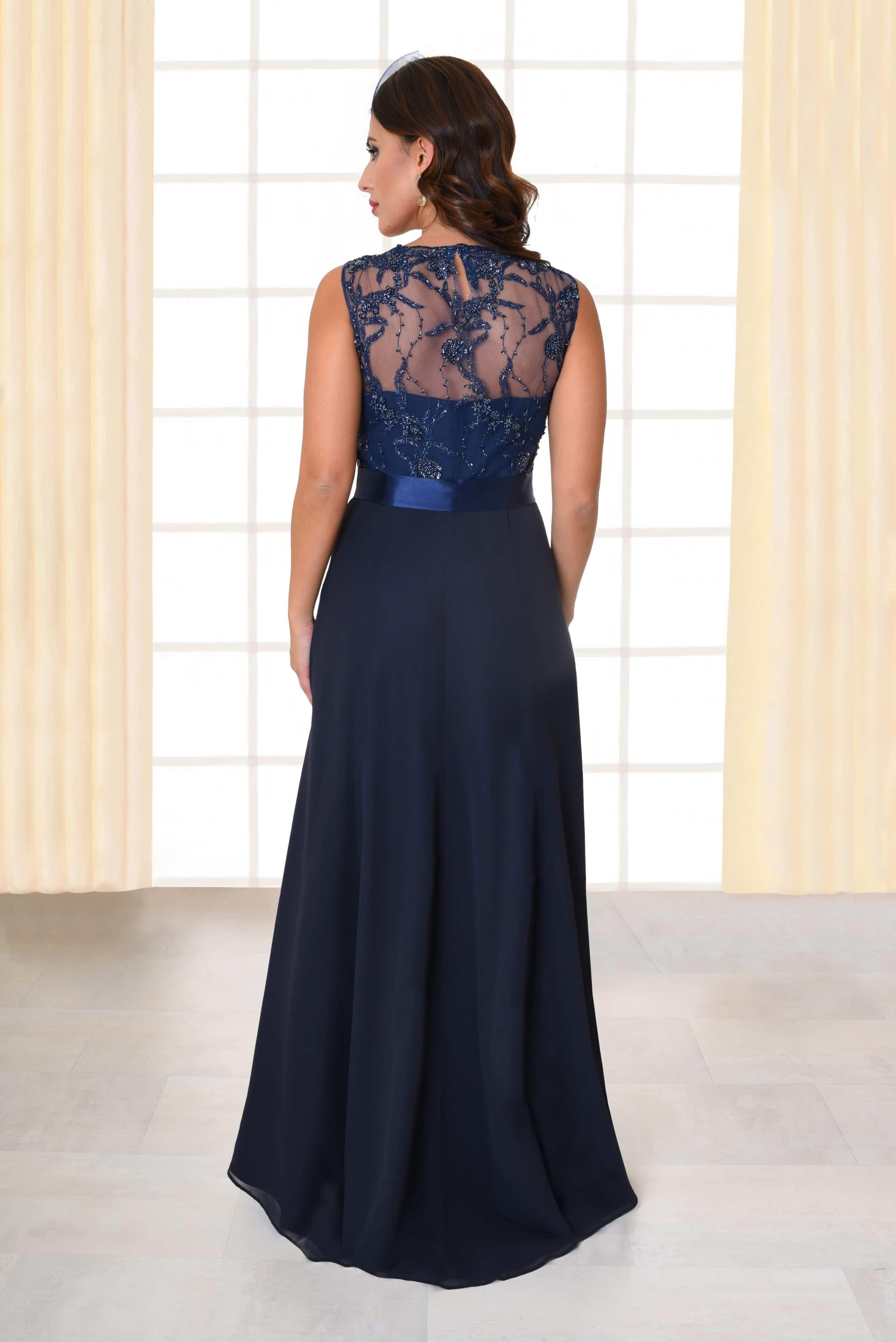 Abendkleid lang Flores Spitzenoberteil mit Trägern dunkelblau von hinten