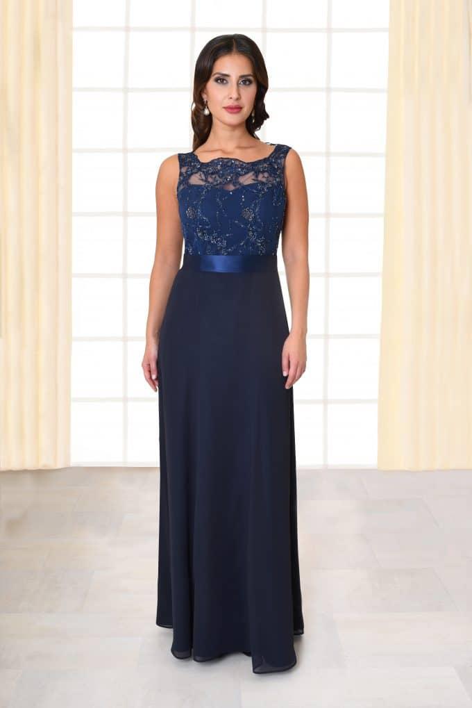 Abendkleid lang Flores Spitzenoberteil mit Trägern dunkelblau von vorne