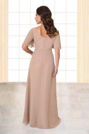 Abendkleid lang Florina mit Knopfleiste nude von hinten
