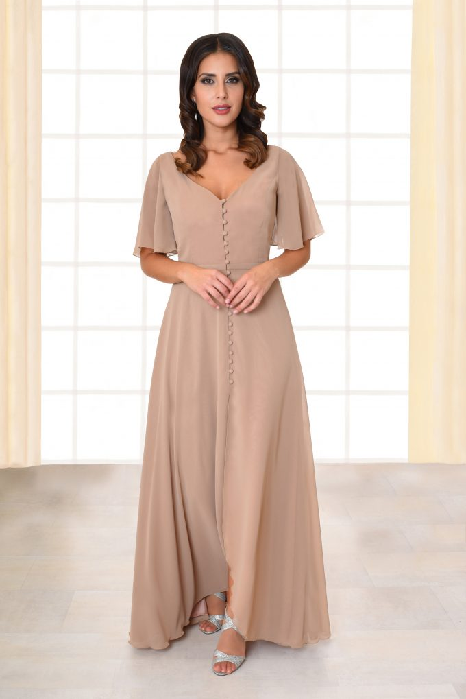 Abendkleid lang Florina mit Knopfleiste nude von vorne