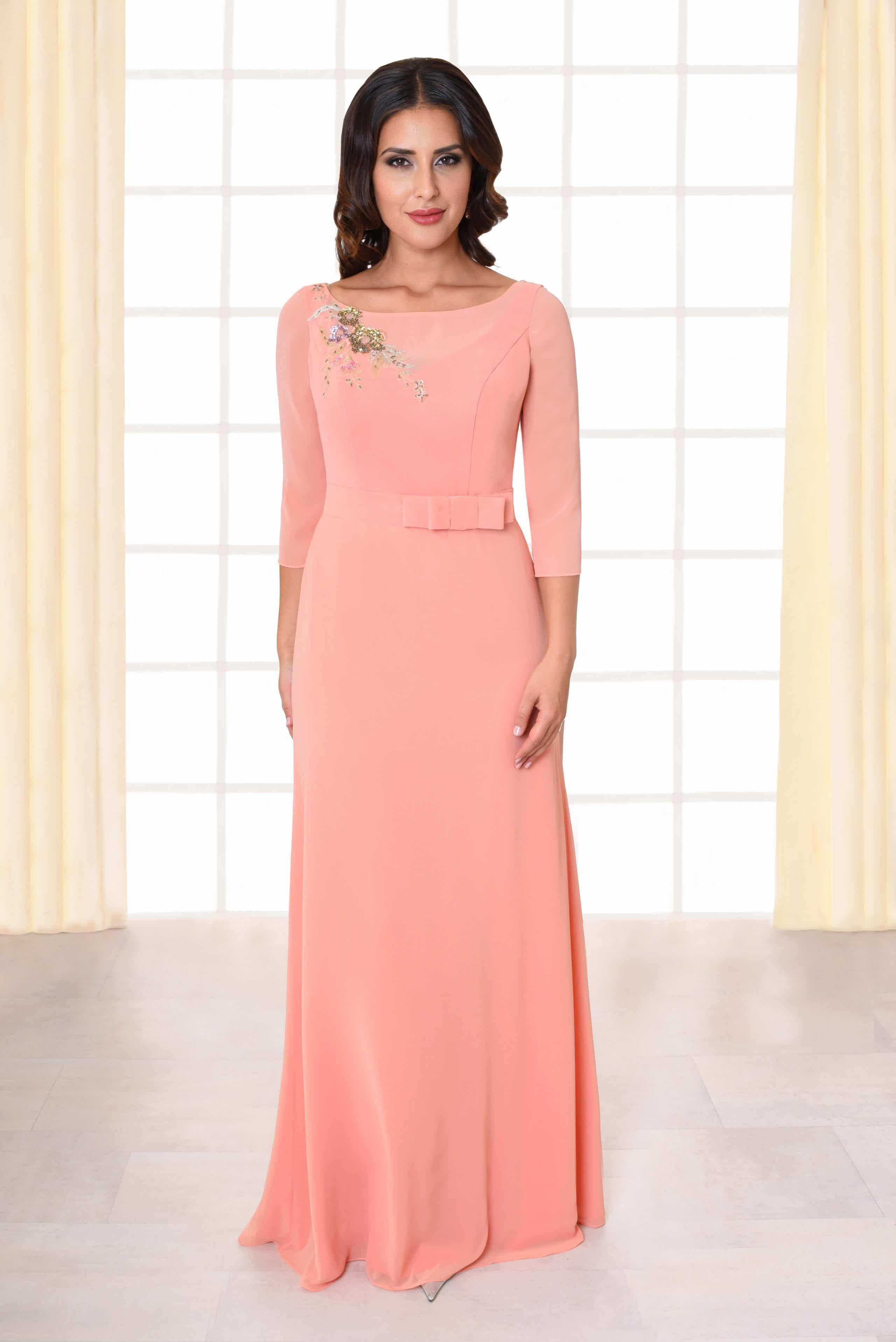 Langes Abendkleid Beth rosa mit langen Ärmeln