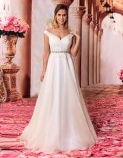 Langes Brautkleid mit Spitzenoberteil und breiten Trägern von vorne