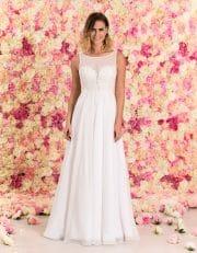 Langes Brautkleid aus Chiffon mit Spitze von vorne