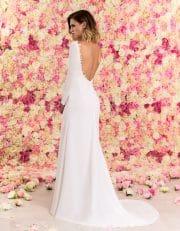Langes Brautkleid A-Linie rückenfrei aus Chiffon mit Schleppe von hinten