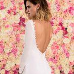 Langes Brautkleid A-Linie rückenfrei aus Chiffon mit Schleppe Nahaufnahme