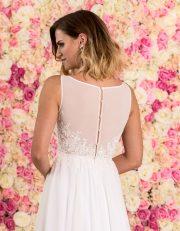 Langes Brautkleid aus Chiffon mit Spitze Nahaufnahme