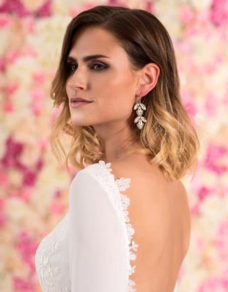 Braut Ohrringe aus Silber in Blütenform mit Kristallen