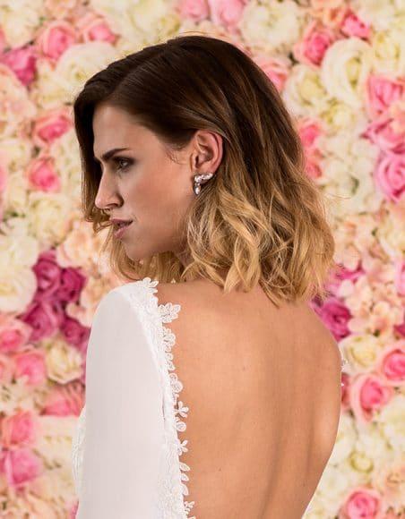 Braut Ohrstecker aus Sterling Silber mit Blüten &Kristallen