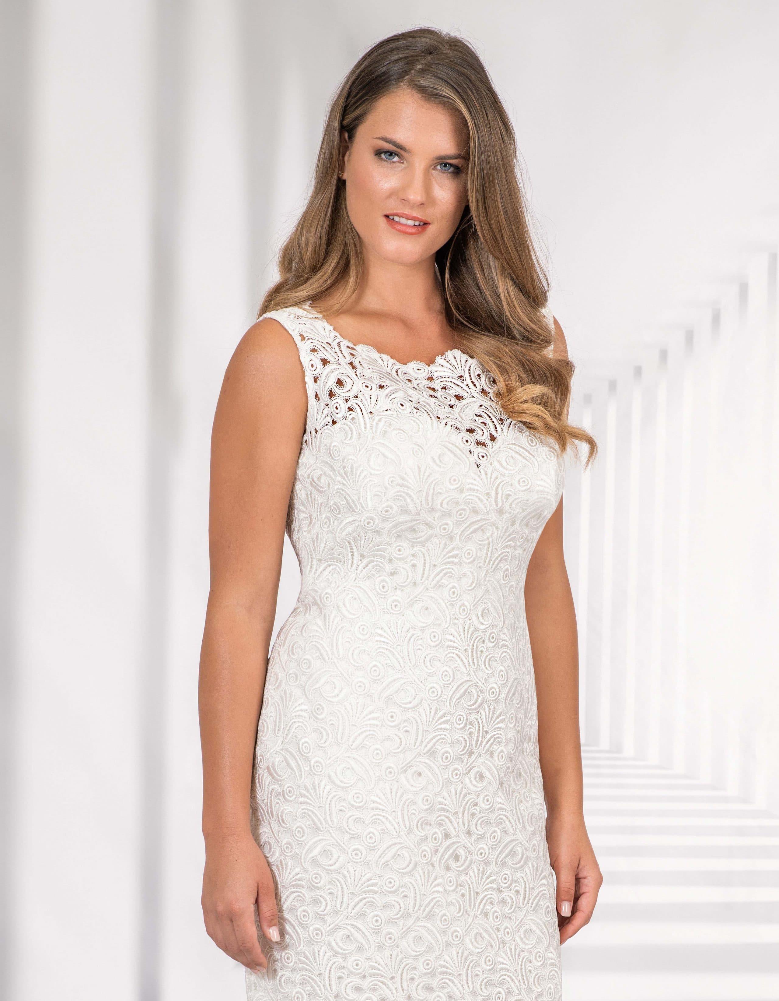 elegantes standesamtkleid kurz aus satin mit feinster