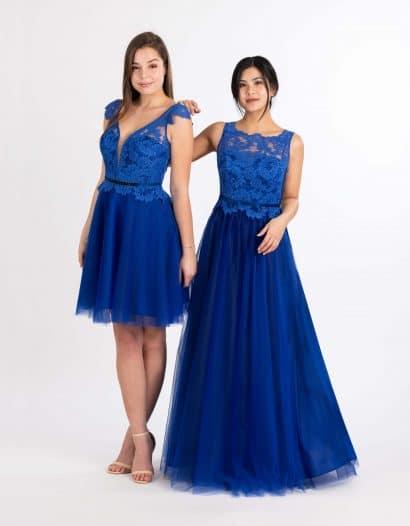 Langes und kurzes Ballkleid in blau mit Top aus Spitze und Tüllrock