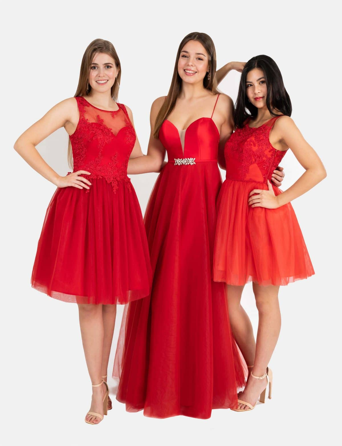 Lange und kurze Ballkleider in rot in zauberhafter A-Linie