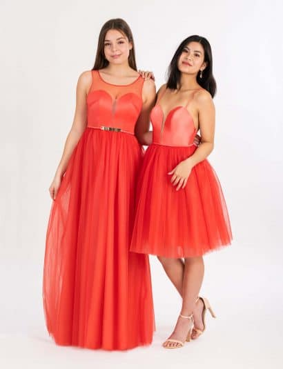 Langes und kurzes Ballkleid in rot-orange mit Herzausschnitt