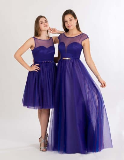 Langes und kurzes Ballkleid in violett mit Tüll-Oberteil