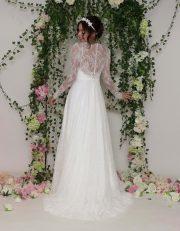 Vintage Spitzen Brautkleider mit langen Ärmeln