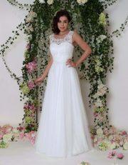 Langes Brautkleid mit Zartem Tüllrock und Perlen Spitzenoberteil